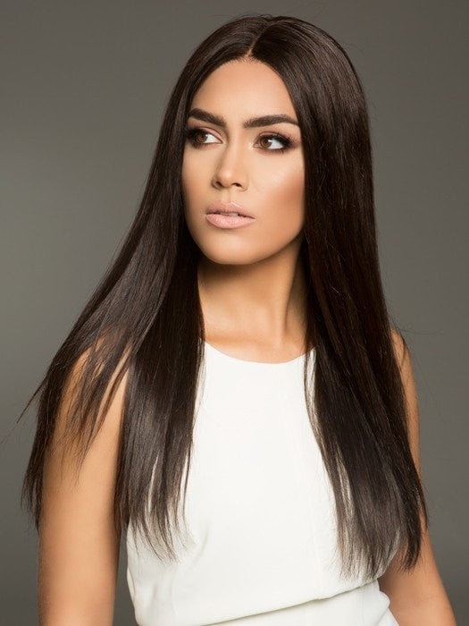 100% Remy Human Hair Wig in 4RN | Darkest Brown (This piece has been styled and straightened)