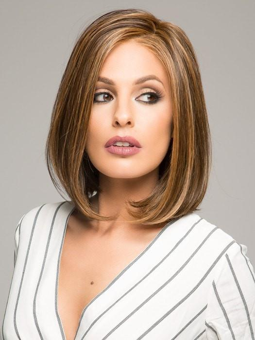 HAUTE by Jon Renau in 6F27 CARAMEL RIBBON | Dark Brown with Light Red-Gold Blonde Highlights and Tips