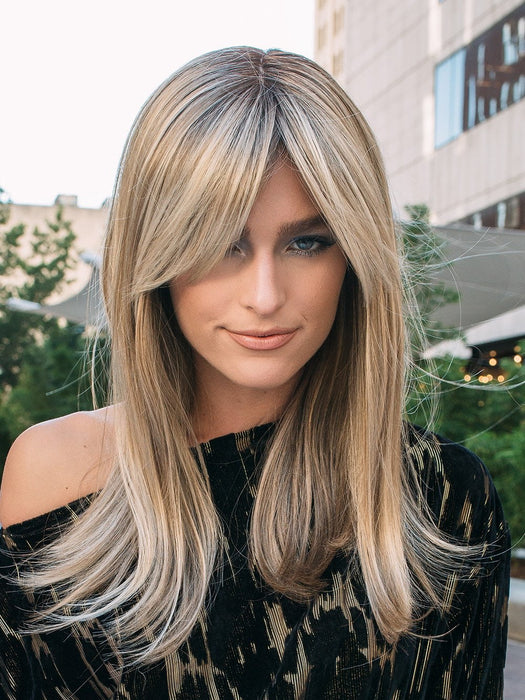 CAMILLA by JON RENAU in 12FS8  | Light Gold Brown, Light Natural Gold Blonde and Pale Natural Gold-Blonde Blend, Shaded with Medium Brown