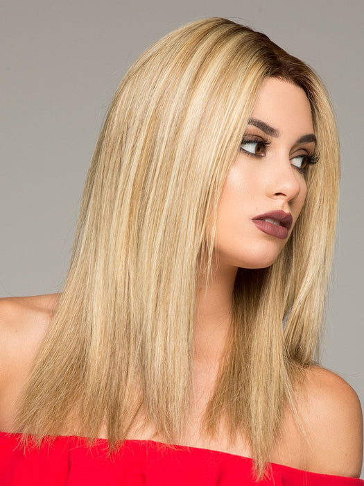 SIENNA by JON RENAU in 12FS8  | Light Gold Brown, Light Natural Gold Blonde and Pale Natural Gold-Blonde Blend, Shaded with Medium Brown  (This piece has been styled and straightened)