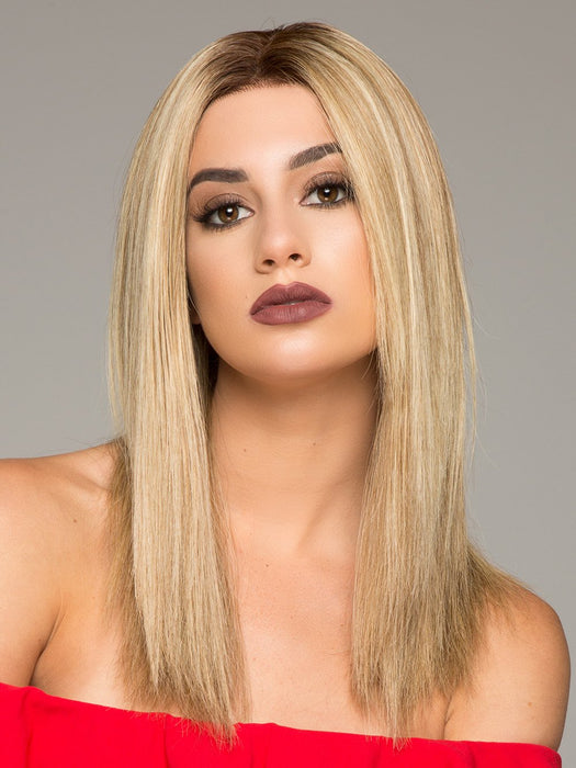 SIENNA EXCLUSIVE by JON RENAU in 12FS8  | Light Gold Brown, Light Natural Gold Blonde and Pale Natural Gold-Blonde Blend, Shaded with Medium Brown  (This piece has been styled and straightened)