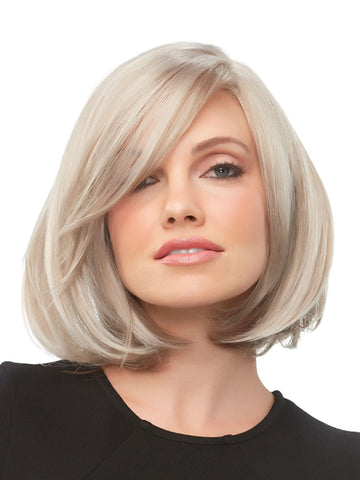KRISTI Wig by JON RENAU in 101F48T | Soft White Front, Light Brown with 75% Grey Blend with Soft White Tips