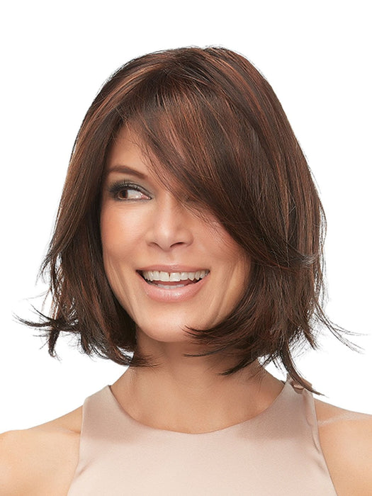 Jon Renau KRISTI in FS4/33/30A MIDNIGHT COCOA | Dark Brown, Medium Red, Medium Natural Red Blonde/Brown Blend with Medium Natural Red Blonde/Brown Blend Bold Highlights