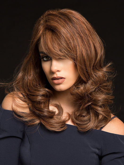 PLATINUM 106 by LOUIS FERRE in 6/30 CREAMY COCOA | Dark Brown Blended with Medium Red  (This piece has been styled and curled)