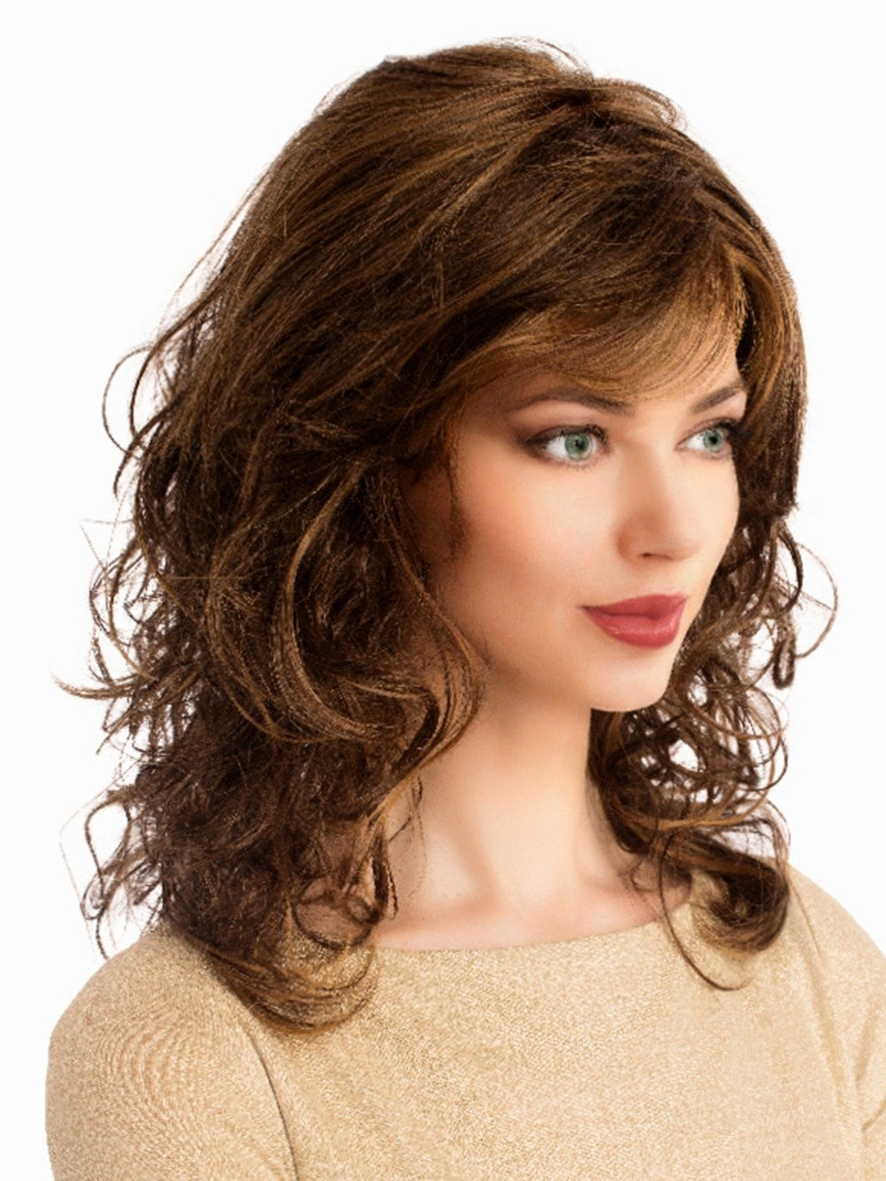 Long wavy curls on this synthetic wig, with a monofilament top, see video for details