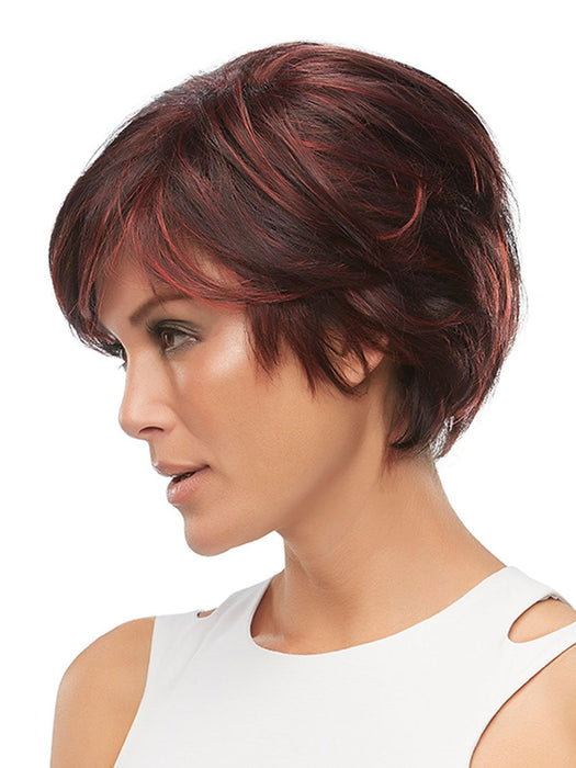 At last, the perfect mashup of pixie shortness and long front layers! The SmartLace front, monotop, and 100-percent hand tied cap look and feel supremely natural