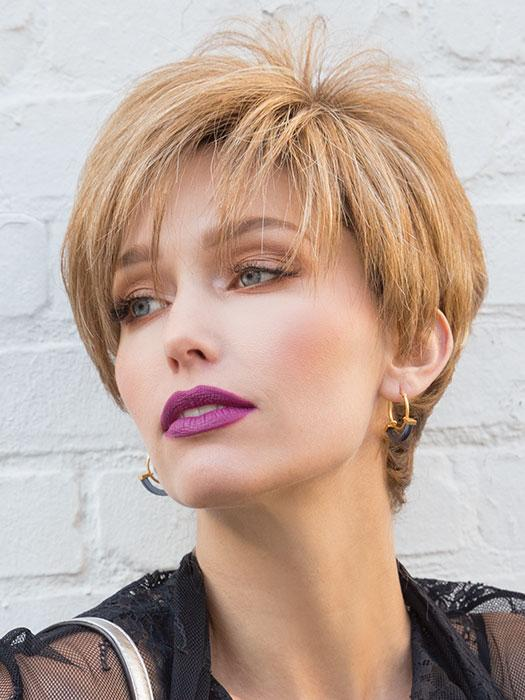 MODERN TOP PIECE by RENE OF PARIS in MAPLE SUGAR R | Rooted Medium Brown with Light Honey Brown Base and Strawberry Blonde Highlights