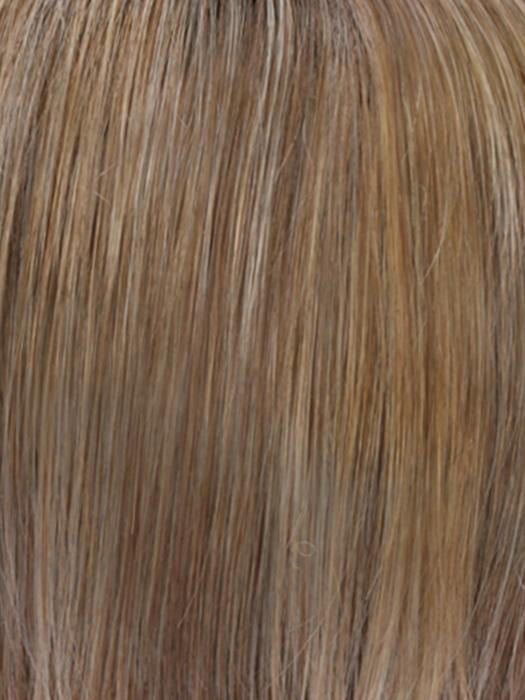 RH12/26RT4 | Light Brown with Chunky Golden Blonde Highlights and Dark Brown Roots