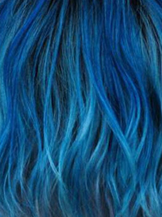 OCEAN BLUE | Slightly off black root with blended deep and light blue base+ light lavender tone ends