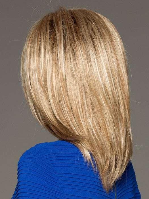 JACKSON by NORIKO in SUGAR CANE R | Rooted Platinum Blonde and Strawberry Blonde evenly blended base with Light Auburn highlight