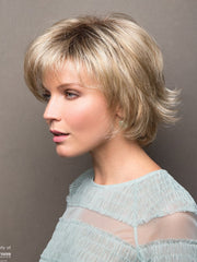 Short face flattering bob with feathered layers and wispy ends