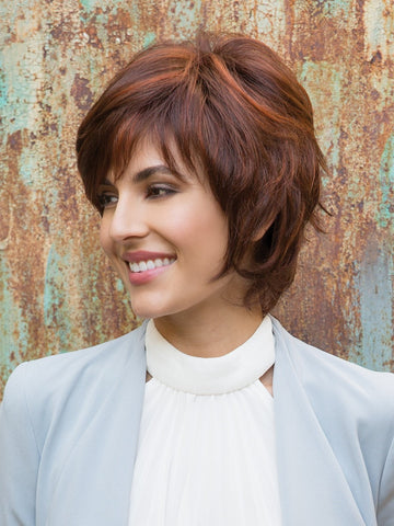 Give this short wig a shake and a quick spritz to awaken the tousled style. Then, finger style to achieve the desired look