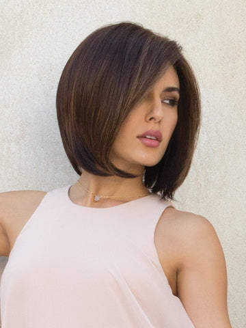HAILEY by Noriko in JAVA FROST | Dark Brown base with Gold Blonde and Light Auburn evenly highlighted