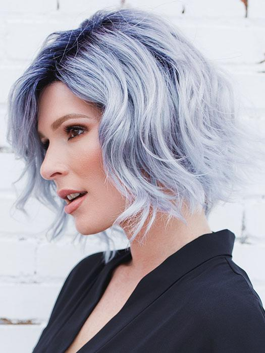 ADELINE by RENE OF PARIS in PASTEL-BLUE-R | Pastel periwinkle tone base with a dark black/purple root