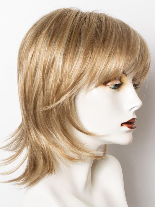 CREAMY-TOFFEE-R | Rooted Dark with Light Platinum Blonde and Light Honey Blonde evenly blended