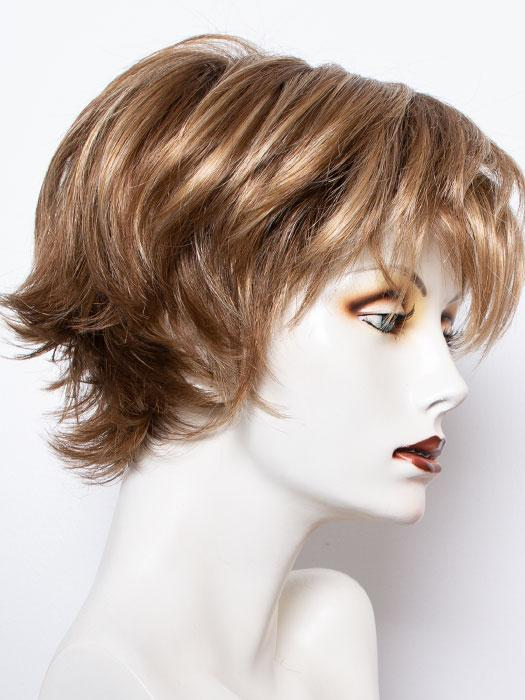 MAPLE-SUGAR-R | Rooted Dark with Light Honey Brown base with Strawberry Blonde highlights