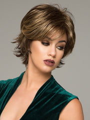 BOOST by RAQUEL WELCH in R11S GLAZED MOCHA | Warm Medium Brown with Golden Blonde Highlights on Top