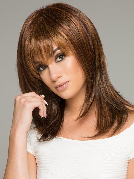 ENIGMA by RAQUEL WELCH in R3329S+ GLAZED AUBURN | Rich Dark Auburn with Pale Ginger Blonde Highlights