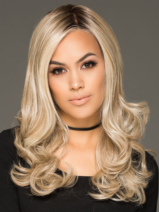 LIMELIGHT by Raquel Welch in RL19/23SS SHADED BISCUIT | Light Ash Blonde Evenly Blended with Cool Platinum Blonde with Dark Roots
