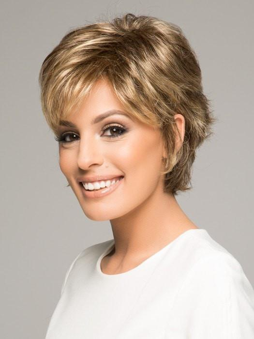 VOLTAGE WIG by RAQUEL WELCH in SS14/88 SHADED GOLDEN WHEAT | Dark Blonde Evenly Blended with Pale Blonde Highlights and Dark Roots