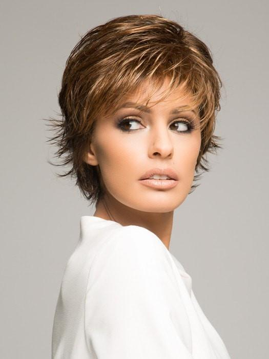 "This ""shake and go"" short wig can be styled soft and layered out of the box, or messy and modern"