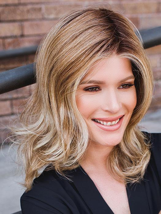 FREE TIME by RAQUEL WELCH in RL14/22SS SHADED WHEAT | Dark Blonde Evenly Blended with Platinum Blonde with Dark Roots