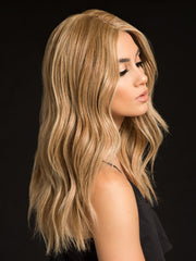 HIGH PROFILE by RAQUEL WELCH in SS14/88 SHADED GOLDEN WHEAT | Dark Blonde Evenly Blended with Pale Blonde Highlights and Dark Roots