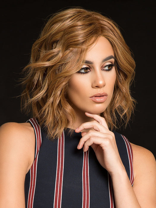 HOLLYWOOD AND DIVINE Wig by RAQUEL WELCH IN R3025S+ GLAZED CINNAMON | Medium Auburn with Ginger Blonde Highlights on Top