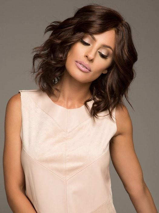 SAVOIR FAIRE by Raquel Welch in R2/31 COCOA | Dark brown with subtle warm highlights and Dark Brown roots (This piece has been styled and curled)