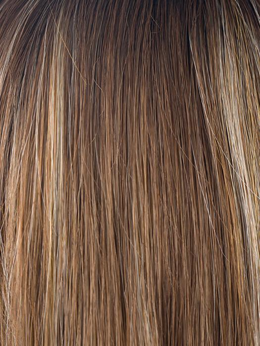 MAPLE-SUGAR-R | Rooted Medium Brown with Light Honey Brown Base and Strawberry Blonde Highlights
