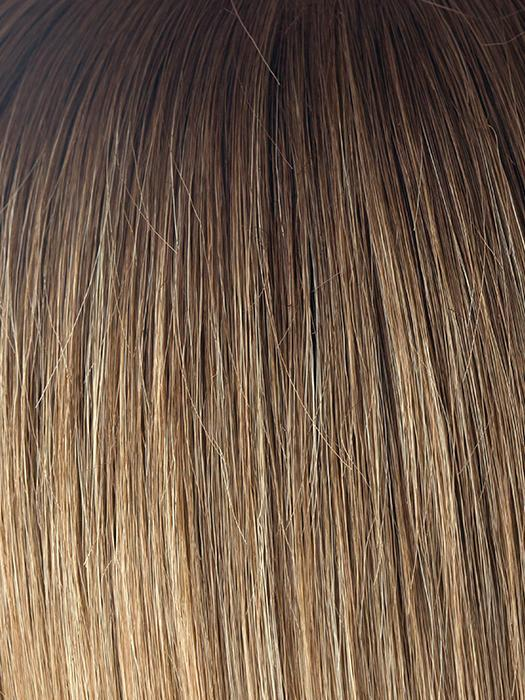 MACADAMIA-LR | Medium brown and light honey brown evenly blended with long dark brown roots