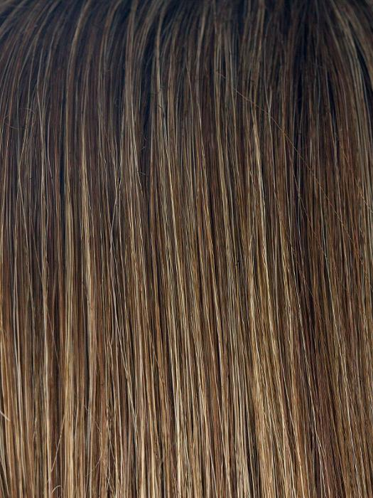 ICED-MOCHA-R | Rooted Dark Brown with Medium Brown Base Blended with Light Blonde Highlights