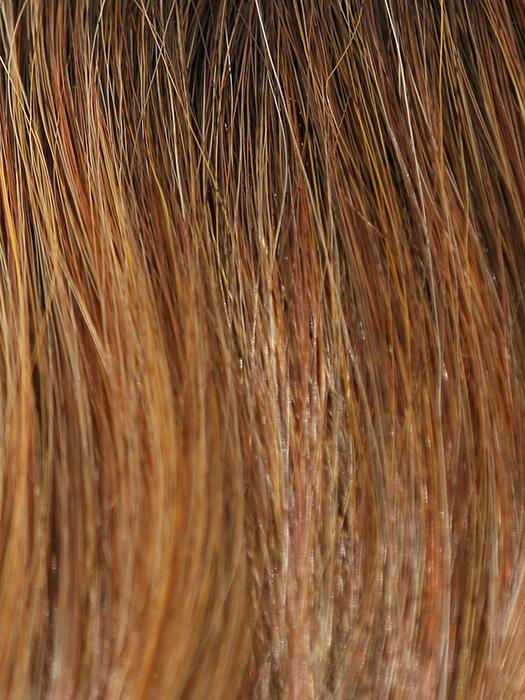 HONEY-BROWN-R | Dark Roots on a Warm Medium Brown base with Auburn and Honey highlights