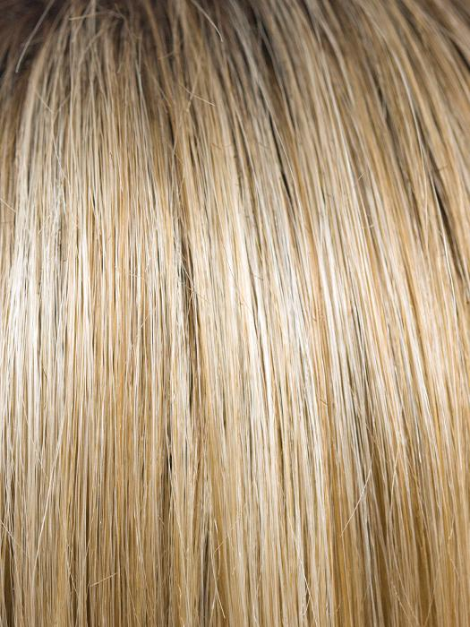CREAMY-TOFFEE-R | Rooted Dark Blonde  Evenly Blended with Light Platinum Blonde and Light Honey Blonde