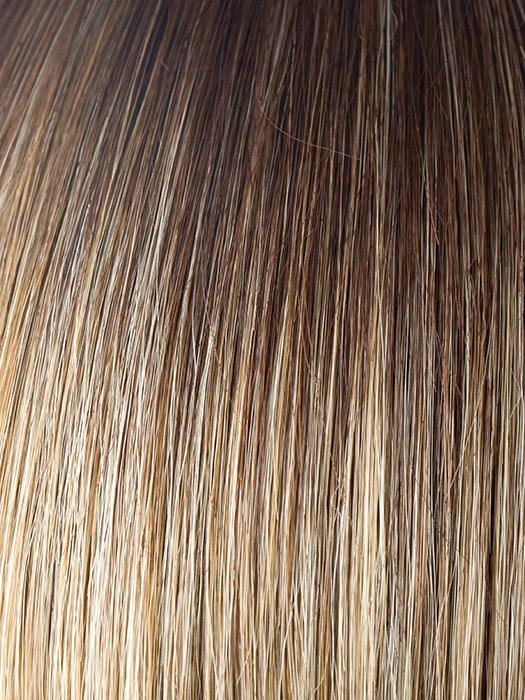 CREAMY-TOFFEE-LR | Light Platinum Blonde and Light Honey Blonde evenly blended with dark long roots