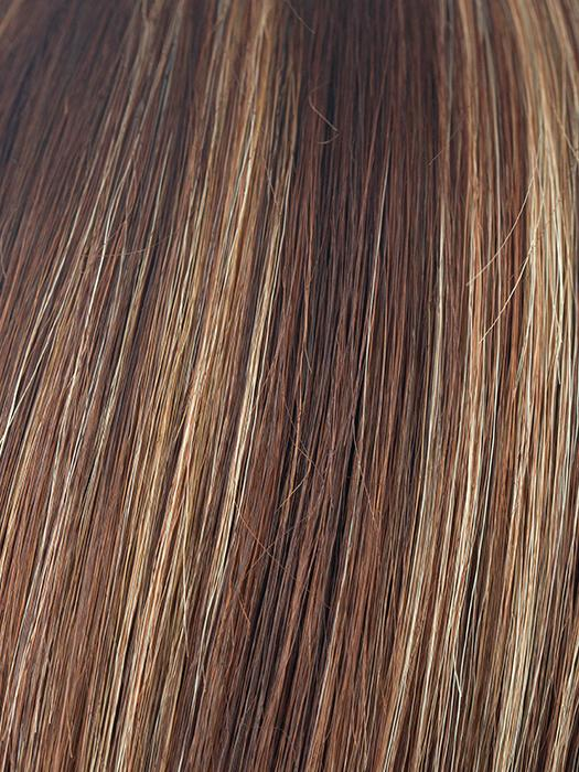 AUBURN-SUGAR | Dark auburn with medium auburn base with dark strawberry blonde highlights
