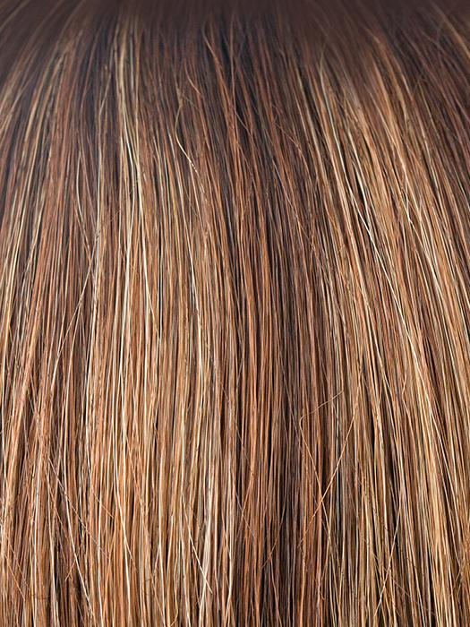 AUBURN-SUGAR-R | Rooted Dark Auburn with Medium Auburn Base with Dark Strawberry Blonde Highlights