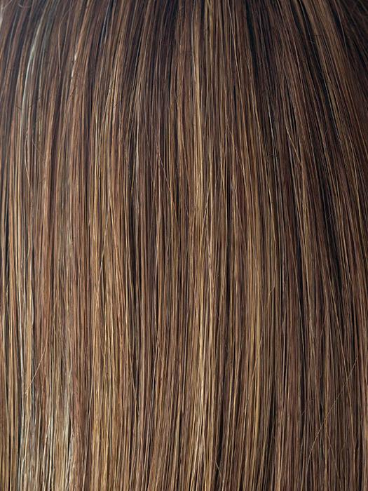 ALMOND-SPICE-R | Rooted Dark Brown with Medium Brown Base with Honey and Platinum Blonde Highlights