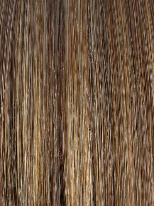 ALMOND-ROCKA | Dark Golden Brown Base with Strawberry Blonde and Bright Cooper Blended Highlights