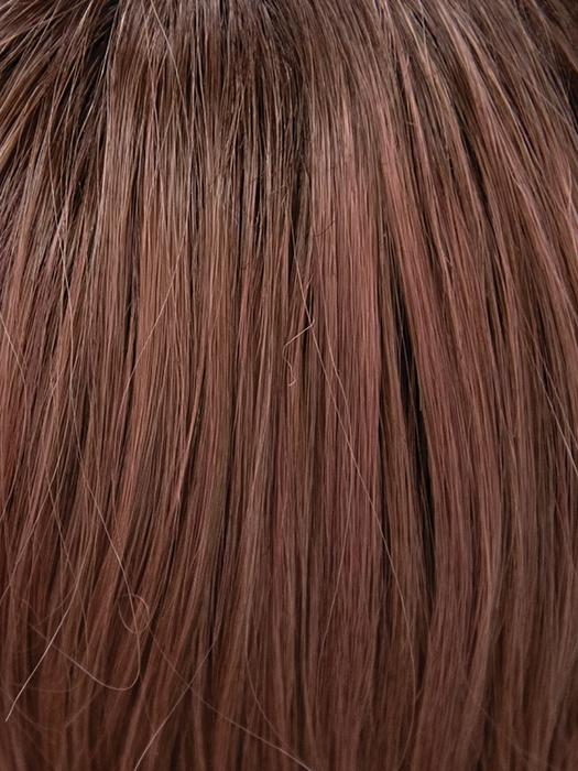 DUSTY-ROSE | Medium Coral Red Base with Dark Brown Roots