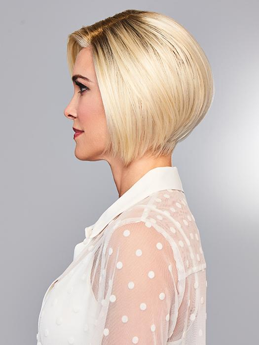 Side swept front with sides that angle up to a short nape