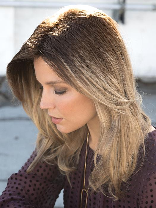 LONG TOP PIECE by Rene of Paris in MACADAMIA-LR | The root is soft brown color that melts into a beige blonde color