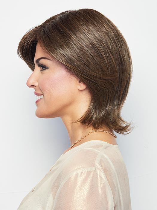 UPSTAGE by RAQUEL WELCH in RL8/12SS ICED MOCHA | Medium Brown shaded with Dark Blonde