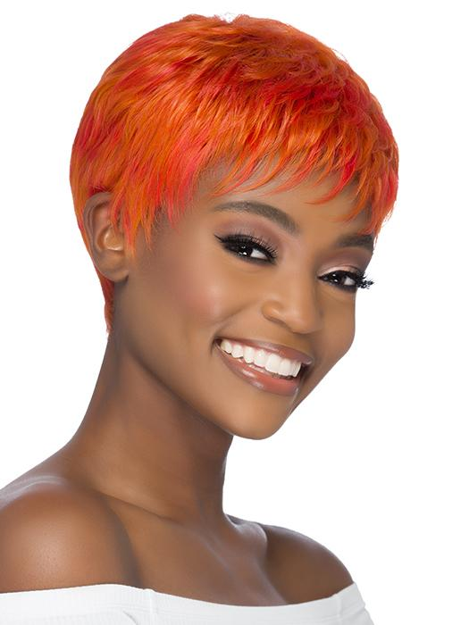 A feathered cut wig with short layers