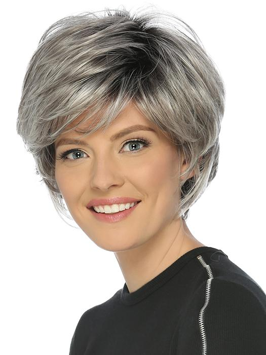 The True Wig by Estetica is a short, feathery layered cut with volume and wispy full bangs