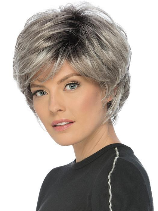 TRUE by ESTETICA in CHROMERT1B | Gray & White With 25% Medium Brown Blend & Off-Black Roots