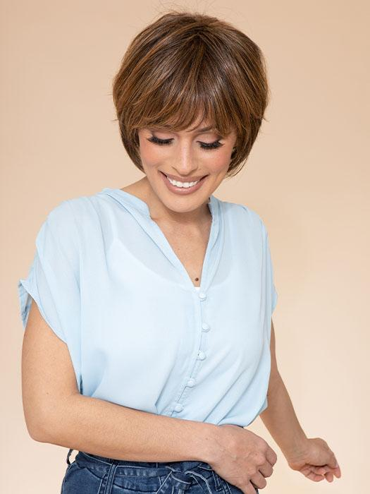 TEXTURED FRINGE BOB by HAIRDO in R829S+ GLAZED HAZELNUT | Medium Brown with Ginger highlights on top