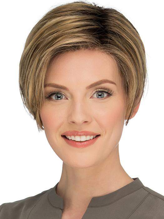 PERRY by ESTETICA in RMH12/26RT4 | Light Brown with chunky Golden Blonde highlights and Dark Brown roots