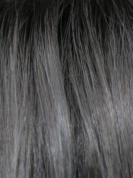 SMOKY-GRAY-R | Dark Roots blended to medium Gray with Silver Highlights and Blue Undertones