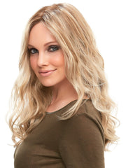 12FS8 | Medium Natural Gold Blonde, Light Gold Blonde, Pale Natural Blonde Blend, Shaded with Dark Brown